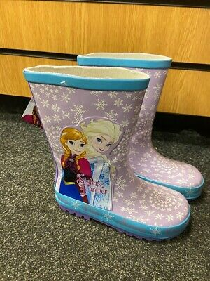 "Girls Disney Frozen Wellington Boots ""Sisters Forever"" Elsa And Anna Free P&P"