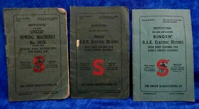Three Antique & Vintage Singer Sewing Machine Books/Manuals Instructions