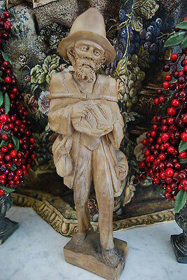 Very Fine Large Rustic Hand Carved Figure Of An Old Peasant Man Done In Wood