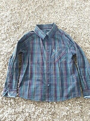 Boys Marks And Spencer Autograph Checked Blue And Purple Long Sleeve Shirt...