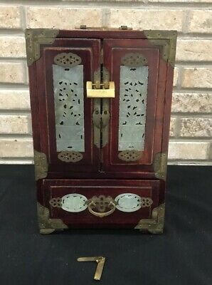 Vintage Chinese Hand Carved Wood Jade Nephrite Jewelry Box Dresser Cabinet Lock