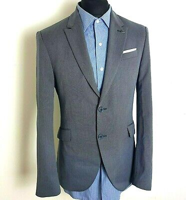ZARA Mens Suit 40R 36R Blue Grey Suit Slim Fitted Straight Leg