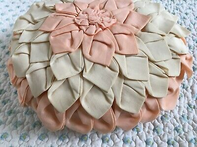 Vintage/Antique Round Boudoir Pillow Silk Kapok Peach & Cream Flower Petals