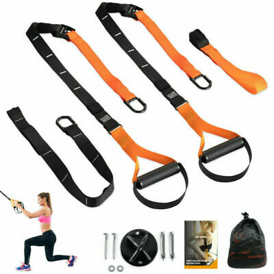 Suspension Trainer Straps Kit Bodyweight  Home Workout Exercise Gym Fitness &&
