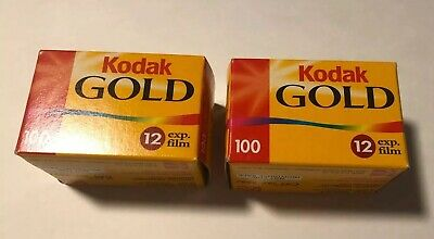 Kodak Gold 100 iso 35mm 12 Exposures Lot Of Two New In Box sealed units