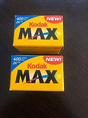 Kodak Max Versatility 400 Film 24 Exposures 35mm Color Lot Of Two Sealed Rolls