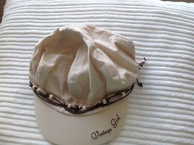 Mothercare 100% Cotton Girls Casual Cream Capped Hat - Age 3-6yrs  (46-52cm)