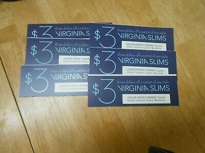 VIRGINIA SLIMS CIGARETTE COUPONS (6)  Save  $18.00 on cartons