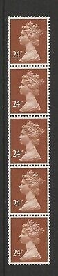 Postage Stamps GB Vertical Coil Strip of 5 x 24p Red Brown Machin Definitives