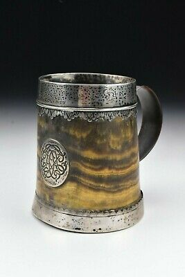 Rare Silver Mounted Horn Tankard Possibly American 17th / 18th Century