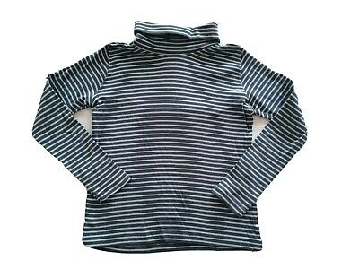Lupilu Girls Grey Striped Polo Neck Jumper Top Long Sleeve T-Shirt Age:5-6 Years