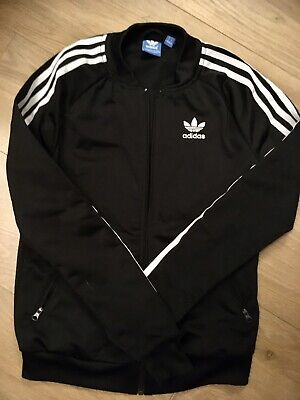 Women's Girls Adidas Originals  Black Zip Up Jacket. Tracksuit Top Size 32