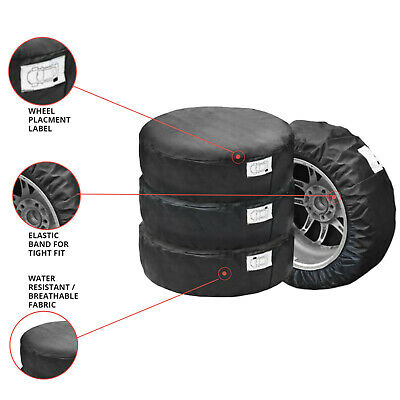 """Setx4 Protective Covers Bag Storage For Spare Wheels Tyres Fits 17"""" 18"""" 19"""" 20"""""""