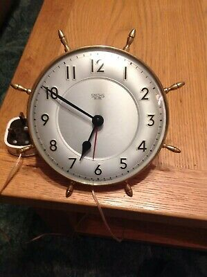 Vintage Smiths Sectric Electric Wall Clock - Nautical / Ships Wheel Brass