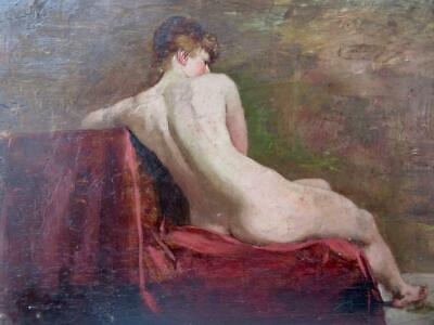 FRANK HOBDEN RBA (1859-1936) Oil Painting PORTRAIT OF A CLASSICAL RECLINING NUDE