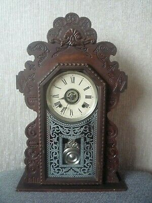 Antique Ansonia Gingerbread Clock Wooden Mantle Clock Key & Pendulum Working