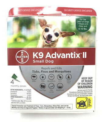 NEW K9 Advantix II flea control and treatment for Small Dog 4-10 lbs 4 Pack