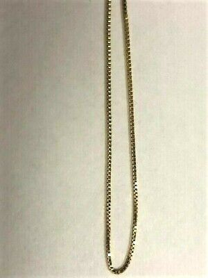 """10K Solid Yellow Gold delicate box Chain  Necklace 18"""" inches"""