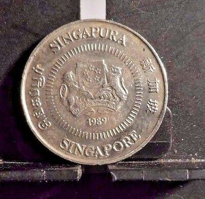 Circulated 1989 10 Cents Singapore Coin (102716)1