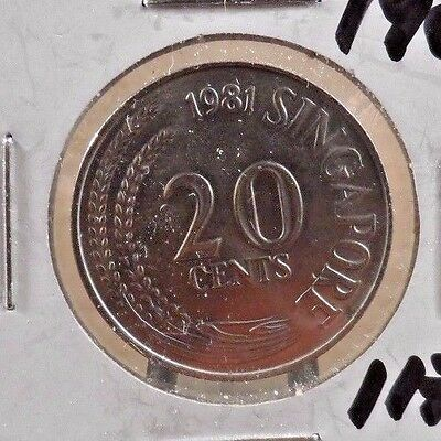 Circulated 1981 20 Cents Singapore Coin (11717)2
