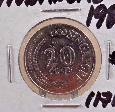 Circulated 1980 20 Cents Singapore Coin (11717)2