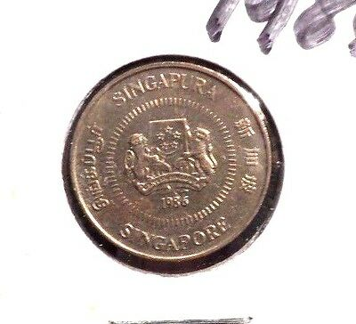 Circulated 1986 10 Cents Singapore Coin Coin! (62815)