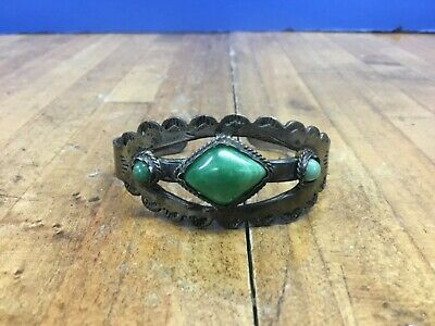 OLD PAWN Vintage Mexico Sterling Silver GREEN Turquoise CUFF BRACELET