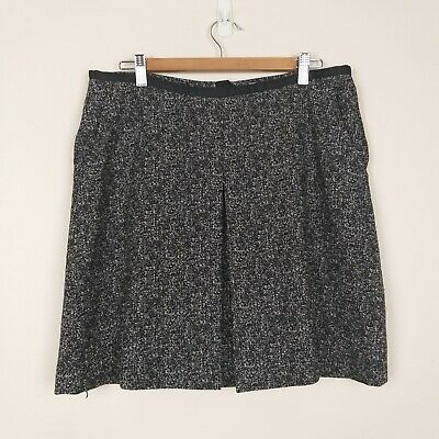 Esprit Size 14 Skirt Black Grey Short Mini A Line Pleated Lined Pockets