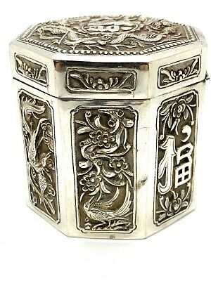 Antique Ghinese Asian Export Sterling Silver Tea Caddy Box. Lot 49.