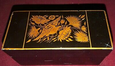 Antique Oriental Lacquered Box With Stylised Yellow on Black Fauna & Flora