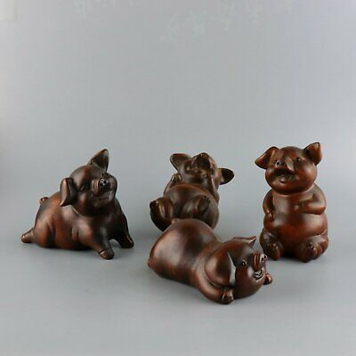 Collectable Old Boxwood Hand-Carved Lovely Four Xi Pig Delicate Unique Statue