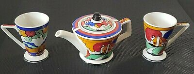 ART DECO Clarice Cliff Sadler Teapot +2 Coffee Mugs *England Made*