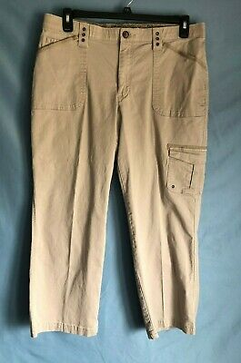 Woman's Lee brand petite size 16P  mid-rise, Bootcut, pair of Beige cargo pants.