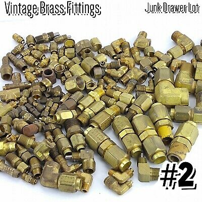 Brass Fittings Lot Pneumatic Hydraulic Plumbing Compression Couplings Elbows #2
