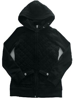 Page Girls Black Hooded Fleece Quilted Tracksuit Top Cardigan Age: 8-10 Years