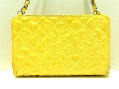 Auth CHANEL Icon/Symbol Charm Yellow Patent Leather Shoulder Bag