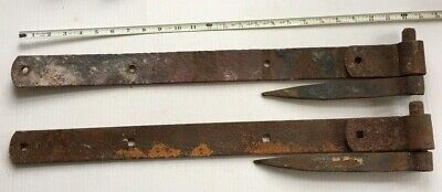 """Pair Vintage Antique Strap Hinges W/ Pins Barn Door Gate 25"""" X 2"""" Hand Forged"""