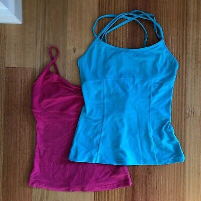 Bloch Womens Girls Dance Strappy Tank Tops Size M 8-10 Pink And Aqua