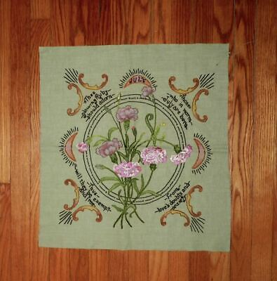 Vintage Arts and Crafts Linen Pattern July Floral Embroidery Textile Unfinished