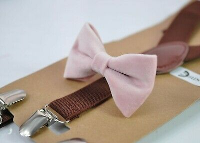 Blush Dusty Rose Pink Velvet Bow tie + Brown Elastic Suspenders for all ages