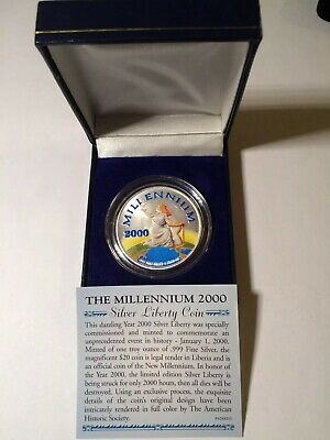 $20 Liberia The Millennium 2000 Silver 1 Oz .999 Liberty Coin