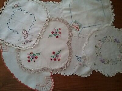6 Vintage Embroidered Doilies
