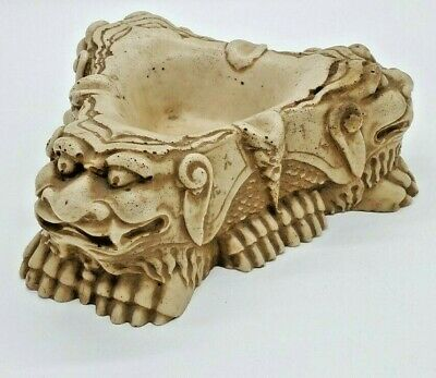 Vintage Chinese Oriental Hand Carved Soapstone Detailed Dragon Figurine Ashtray