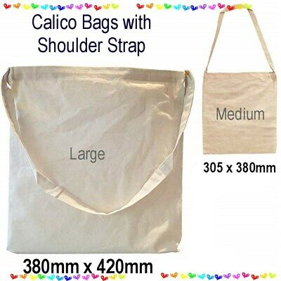 BULK Calico Shopping Bags Library Bag Gym Shoulder Tote Eco Natural Unbleached