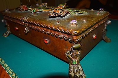 Antique European Metal Wood Hand Carved Box w/ Copper Roses Peridot Gems & Glass
