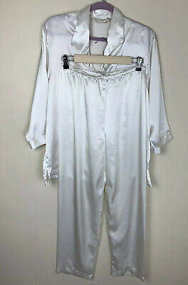 Vintage Victorias Secret Gold Label Pajama Set White Satin Embroidered Small