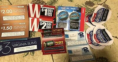 MIX LOT OF CIGARETTE AND SNUS COUPONS SAVINGS OF $58 Camel Skoal Winston & More