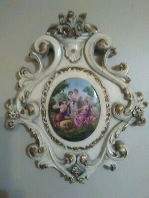 Vintage Hand Carved Wood and plaster Fancy Women Cameo Hanging Wall Art