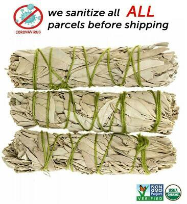 White Sage Cali Smudge Stick SET OF 3 Certified Organic Made in USA