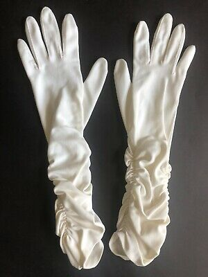 Vintage Shirred Ruched White Womens Elbow Gloves Van Raalte One Size Nylon